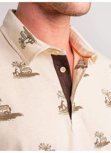 Dufy Pamuklu Safarı Temali Polo Yaka Erkek T-Shirt - Regular Fit Ekru